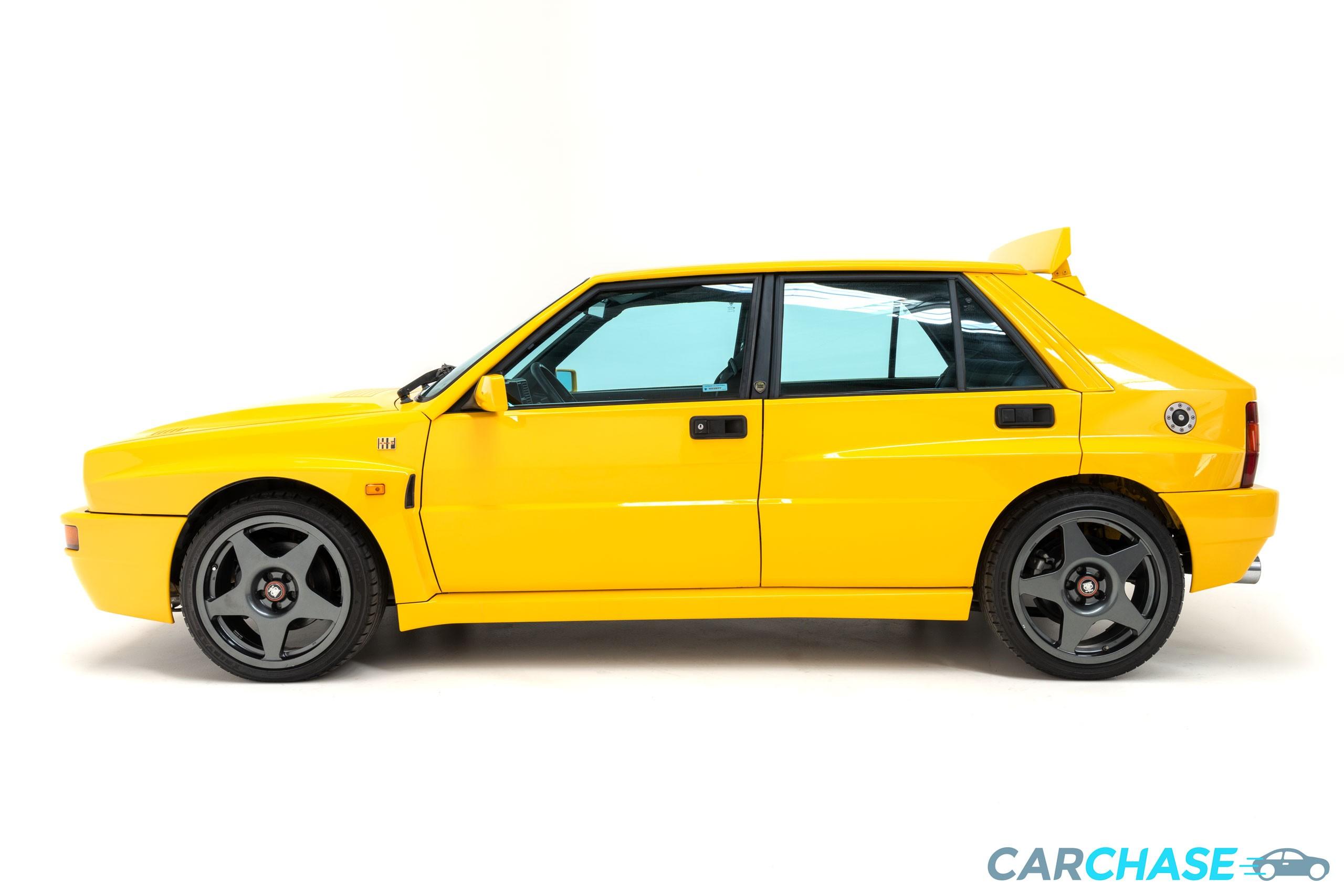 Image of left profile of 1993 Lancia Delta Integrale Evo 2 Giallo Ginestra